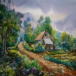 landscape, 16 x 11 inch, prabhakaran parappur,paintings,paintings for living room,paintings for living room,brustro watercolor paper,watercolor,16x11inch,GAL0753720802