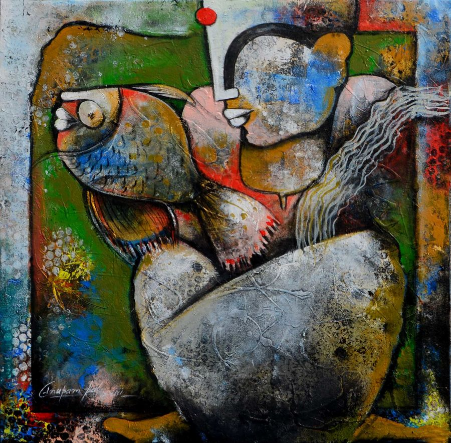 a lady with fish, 24 x 24 inch, anupam  pal,paintings,abstract paintings,buddha paintings,wildlife paintings,figurative paintings,flower paintings,folk art paintings,foil paintings,cityscape paintings,landscape paintings,multi piece paintings,conceptual paintings,cubist paintings,expressionist paintings,impressionist paintings,photorealism paintings,pop art paintings,realism paintings,surrealist paintings,paintings for dining room,paintings for living room,paintings for bedroom,paintings for office,paintings for bathroom,paintings for kids room,paintings for hotel,paintings for kitchen,paintings for school,paintings for hospital,canvas,acrylic color,mixed media,oil,pen color,24x24inch,GAL08220804