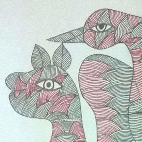 gond mythical animals , 10 x 16 inch, ruchi  saxena ,paintings,folk art paintings,gond painting.,paintings for dining room,paintings for living room,paintings for office,paintings for hotel,paintings for school,thick paper,pen color,10x16inch,GAL01070020806