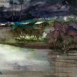 landscape, 16 x 11 inch, prabhakaran parappur,paintings,landscape paintings,paintings for living room,brustro watercolor paper,watercolor,16x11inch,GAL0753720809