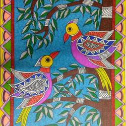 madhubani birds , 12 x 17 inch, ruchi  saxena ,folk art paintings,madhubani paintings,paintings for dining room,paintings for living room,paintings for bedroom,paintings for hotel,paintings for school,ivory sheet,ink color,12x17inch,GAL01070020812