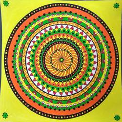 circular mandala art, 12 x 12 inch, geeta kwatra,paintings,abstract paintings,paintings for living room,handmade paper,acrylic color,12x12inch,GAL0899120819