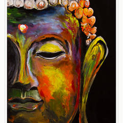 abstract art of lord buddha, 14 x 18 inch, satish kumar boddapati,paintings,abstract paintings,buddha paintings,paintings for dining room,paintings for living room,paintings for bedroom,paintings for dining room,paintings for living room,paintings for bedroom,canvas board,acrylic color,14x18inch,religious,peace,meditation,meditating,gautam,goutam,buddha,lord,colourful,side face,GAL01075920832