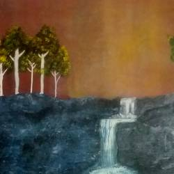 waterfall, 20 x 30 inch, sandeep joshi,paintings,landscape paintings,canvas,oil,20x30inch,GAL0778520840