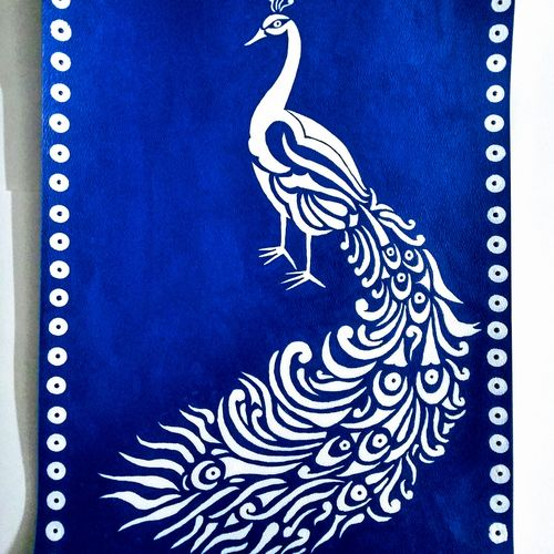 white peacock, 12 x 18 inch, geeta kwatra,paintings,abstract paintings,handmade paper,acrylic color,12x18inch,GAL0899120843