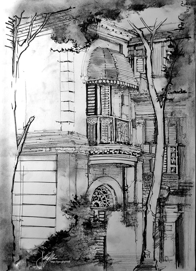 """kolkata eternity 4.2, chariots of the north- in ink, charcoal, graphite and acrylic 36"""" x 24"""", 11 x 16 inch, joydeep mitra,paintings,cityscape paintings,paintings for dining room,paintings for living room,paintings for bedroom,paintings for office,paintings for hotel,paintings for kitchen,paintings for school,paintings for hospital,fabriano sheet,ink color,pen color,photo ink,graphite pencil,11x16inch,GAL0768320846"""