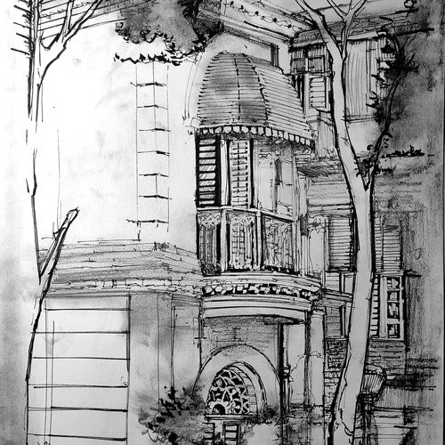 "kolkata eternity 4.2, chariots of the north- in ink, charcoal, graphite and acrylic 36"" x 24"", 11 x 16 inch, joydeep mitra,paintings,cityscape paintings,paintings for dining room,paintings for living room,paintings for bedroom,paintings for office,paintings for hotel,paintings for kitchen,paintings for school,paintings for hospital,fabriano sheet,ink color,pen color,photo ink,graphite pencil,11x16inch,GAL0768320846"