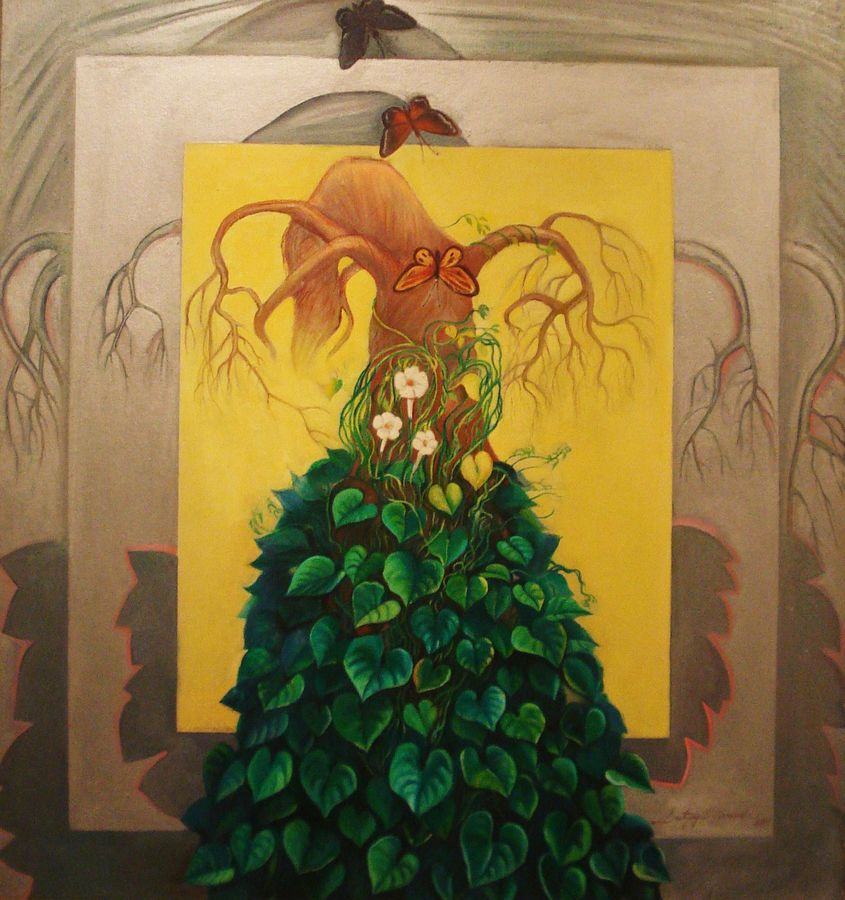 eternal symbiosis, 36 x 48 inch, satyajit chandra chanda,nature paintings,paintings for living room,paintings for office,canvas,oil,36x48inch,GAL07502086Nature,environment,Beauty,scenery,greenery