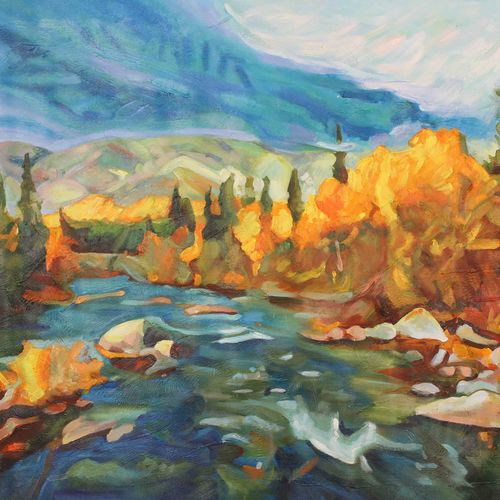 abstract nature, 48 x 36 inch, achal  art studio,paintings,abstract paintings,nature paintings,paintings for living room,canvas,acrylic color,48x36inch,GAL0991220860Nature,environment,Beauty,scenery,greenery,trees,water,beautiful,leaves,flowers