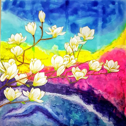blossom, 48 x 48 inch, masoom sanghi,paintings,abstract paintings,flower paintings,modern art paintings,nature paintings,paintings for living room,paintings for bedroom,paintings for office,paintings for hotel,paintings for hospital,canvas,acrylic color,48x48inch,GAL057220861Nature,environment,Beauty,scenery,greenery