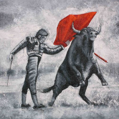 bull with man, 36 x 24 inch, achal  art studio,paintings,modern art paintings,paintings for living room,paintings for hotel,canvas,acrylic color,36x24inch,GAL0991220868