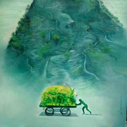 green seller, 36 x 48 inch, satyajit chandra chanda,nature paintings,paintings for living room,canvas,oil,36x48inch,GAL07502087Nature,environment,Beauty,scenery,greenery