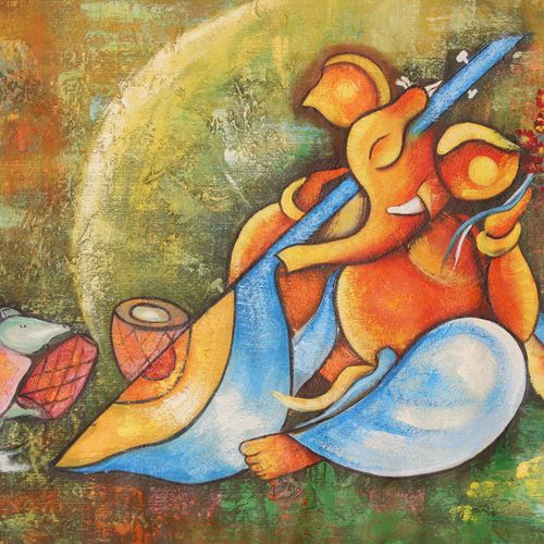 musical ganesha1, 48 x 24 inch, achal  art studio,paintings,modern art paintings,paintings for living room,canvas,acrylic color,48x24inch,GAL0991220876