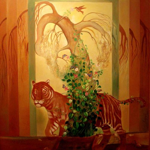 nature eco- system, 48 x 60 inch, satyajit chandra chanda,wildlife paintings,nature paintings,paintings for living room,paintings for office,animal paintings,canvas,acrylic color,48x60inch,GAL07502088Nature,environment,Beauty,scenery,greenery