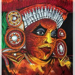 theyyam dancer - dance form of india, 9 x 12 inch, joyeeta gupta,paintings,figurative paintings,conceptual paintings,portrait paintings,art deco paintings,illustration paintings,impressionist paintings,photorealism paintings,photorealism,portraiture,realism paintings,love paintings,paintings for dining room,paintings for living room,paintings for office,paintings for hotel,paintings for dining room,paintings for living room,paintings for office,paintings for hotel,canvas,acrylic color,9x12inch,GAL01081120893
