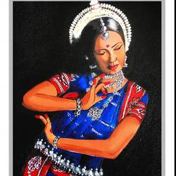odissi dancer  - dance forms of india , 9 x 12 inch, joyeeta gupta,paintings,figurative paintings,portrait paintings,expressionist paintings,photorealism paintings,photorealism,portraiture,realism paintings,realistic paintings,paintings for dining room,paintings for living room,paintings for office,paintings for hotel,paintings for school,paintings for dining room,paintings for living room,paintings for office,paintings for hotel,paintings for school,canvas,acrylic color,9x12inch,GAL01081120894
