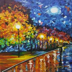 streetlights, 22 x 30 inch, amaey parekh,landscape paintings,paintings for bedroom,canvas,acrylic color,22x30inch,GAL075209