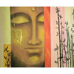 bamboo peace, 22 x 14 inch, ramya arumugam,paintings,abstract paintings,buddha paintings,paintings for living room,paintings for bedroom,paintings for office,paintings for kids room,paintings for hotel,paintings for school,paintings for hospital,paintings for living room,paintings for bedroom,paintings for office,paintings for kids room,paintings for hotel,paintings for school,paintings for hospital,thick paper,acrylic color,charcoal,pastel color,pen color,pencil color,poster color,watercolor,22x14inch,religious,peace,meditation,meditating,gautam,goutam,buddha,lord,face,leaf,brown,GAL01066120904