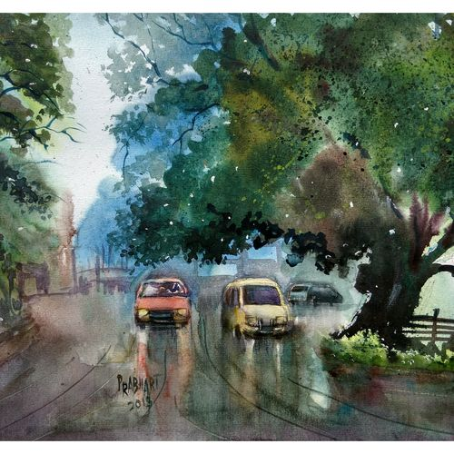 rainy day, 16 x 11 inch, prabhakaran parappur,paintings,landscape paintings,paintings for hotel,handmade paper,watercolor,16x11inch,GAL0753720914