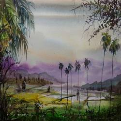 landscape, 16 x 11 inch, prabhakaran parappur,paintings,landscape paintings,paintings for office,canson paper,watercolor,16x11inch,GAL0753720915