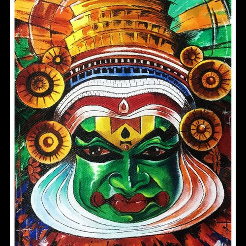 kathakali dancer - dance forms of india, 9 x 12 inch, joyeeta gupta,paintings,figurative paintings,conceptual paintings,religious paintings,portrait paintings,photorealism paintings,photorealism,portraiture,realism paintings,realistic paintings,paintings for dining room,paintings for living room,paintings for office,paintings for hotel,paintings for school,canvas,acrylic color,9x12inch,GAL01081120917