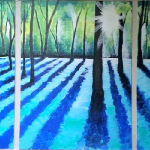 sunlit, 80 x 24 inch, reshma  iqbal,landscape paintings,paintings for living room,canvas,acrylic color,80x24inch,GAL07622092