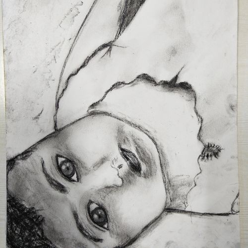 innocence, 10 x 14 inch, anugrah edmonds,drawings,conceptual drawings,expressionist drawings,figurative drawings,fine art drawings,impressionist drawings,portrait drawings,paintings for dining room,paintings for living room,paintings for bedroom,paintings for office,paintings for kids room,paintings for hotel,paintings for school,paintings for hospital,thick paper,charcoal,graphite pencil,10x14inch,GAL020320920