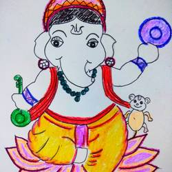 om ganesha namaha, 15 x 15 inch, meenakshi subramaniam ,drawings,paintings for living room,illustration drawings,paintings for living room,thick paper,pencil color,15x15inch,GAL01083020927