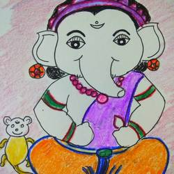 om ganesha namaha, 15 x 15 inch, meenakshi subramaniam ,drawings,illustration drawings,paintings for living room,thick paper,pencil color,15x15inch,GAL01083020928
