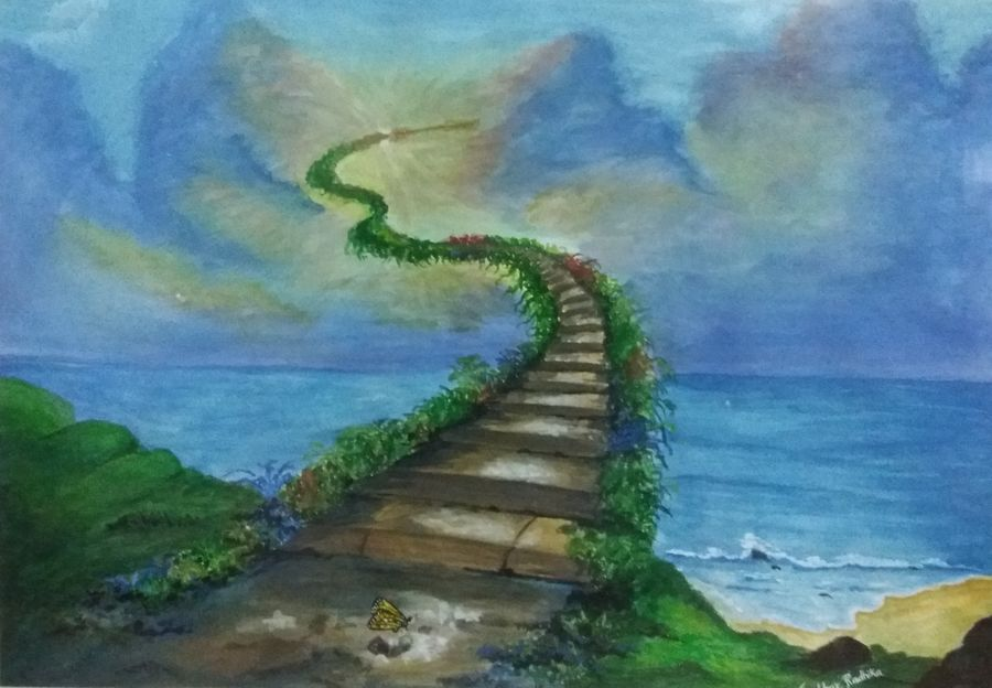 imagination in landscape, 24 x 20 inch, radhika kumbhar,landscape paintings,paintings for living room,thick paper,watercolor,24x20inch,GAL08112093