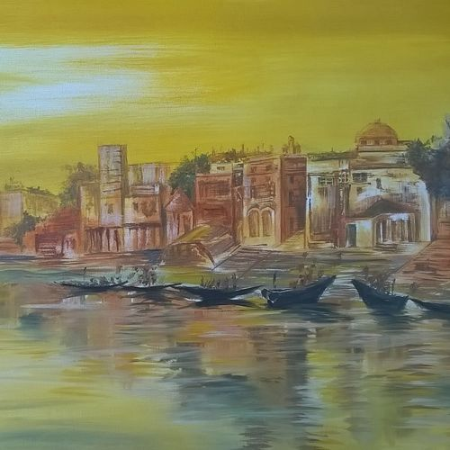banaras, 26 x 20 inch, sayantan  ghati ,landscape paintings,paintings for living room,canvas,oil,26x20inch,GAL07702094