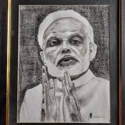 the modi, 7 x 9 inch, s rajitha,drawings,portrait drawings,paper,charcoal,7x9inch,GAL01085320946