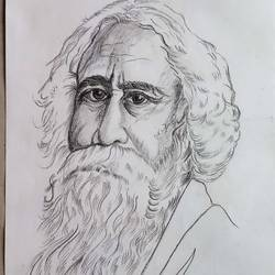 ravindranath tagore, 14 x 12 inch, s rajitha,drawings,portrait drawings,drawing paper,charcoal,14x12inch,GAL01085320948