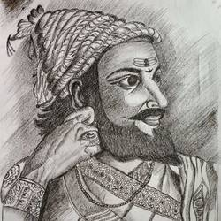 mughal ruler, 13 x 11 inch, s rajitha,drawings,portrait drawings,drawing paper,charcoal,13x11inch,GAL01085320949