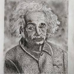 albert einstein, 13 x 11 inch, s rajitha,drawings,portrait drawings,drawing paper,charcoal,13x11inch,GAL01085320950