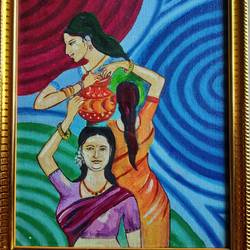 canvas painting, 8 x 10 inch, s rajitha,paintings,folk art paintings,conceptual paintings,street art,paintings for school,canvas,oil,8x10inch,GAL01085320953