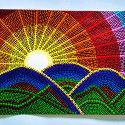 sunset with dot mandala, 12 x 18 inch, geeta kwatra,paintings,abstract paintings,paintings for living room,handmade paper,acrylic color,12x18inch,GAL0899120959