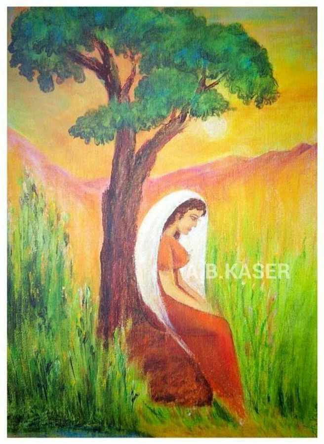 oneness with nature, 11 x 14 inch, a.b.  kaser,nature paintings,paintings for living room,vertical,canvas,acrylic color,11x14inch,GAL06362096Nature,environment,Beauty,scenery,greenery