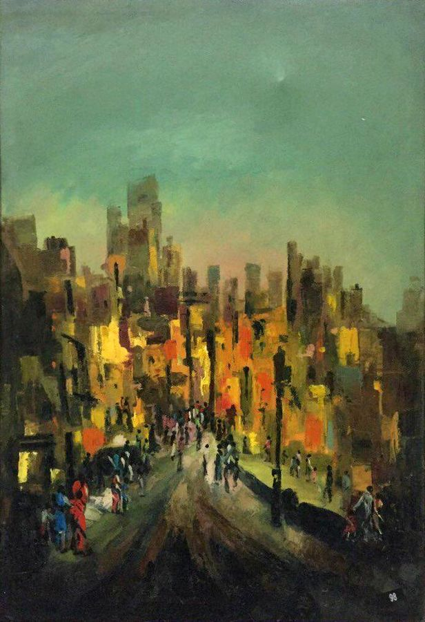 urban lights, 26 x 38 inch, balbir art  gallery,paintings,landscape paintings,canvas,oil,26x38inch,GAL01076520966