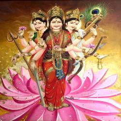 tridevi, 30 x 37 inch, balbir art  gallery,paintings,religious paintings,portrait paintings,canvas,oil,30x37inch,GAL01076520970