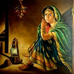 rajasthani bride, 42 x 32 inch, balbir art  gallery,paintings,figurative paintings,folk art paintings,portrait paintings,canvas,oil,42x32inch,GAL01076520979