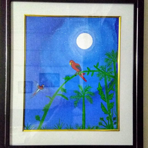 red parrots, 15 x 17 inch, geeta kwatra,paintings,nature paintings,paintings for living room,canvas,acrylic color,15x17inch,GAL0899120989Nature,environment,Beauty,scenery,greenery