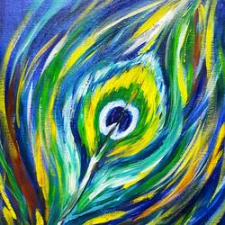 the feather, 12 x 16 inch, amaey parekh,religious paintings,paintings for bedroom,canvas,acrylic color,12x16inch,GAL075210