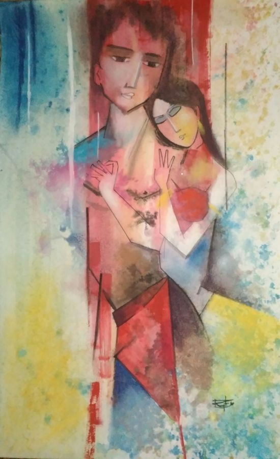cosmic love, 14 x 22 inch, ramya arumugam,paintings,abstract paintings,figurative paintings,modern art paintings,abstract expressionist paintings,paintings for dining room,paintings for bedroom,paintings for bathroom,paintings for hotel,paintings for dining room,paintings for bedroom,paintings for bathroom,paintings for hotel,thick paper,charcoal,pastel color,pen color,pencil color,poster color,watercolor,ball point pen,14x22inch,GAL01066121000