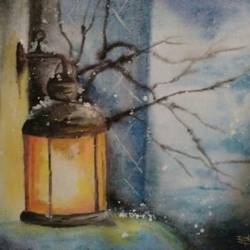 frozen lamp, 14 x 11 inch, ramya arumugam,paintings,abstract paintings,modern art paintings,paintings for dining room,paintings for living room,paintings for bedroom,paintings for office,paintings for bathroom,paintings for kids room,paintings for hotel,paintings for kitchen,paintings for school,paintings for hospital,thick paper,poster color,watercolor,14x11inch,GAL01066121004