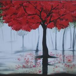 the gulmohar tree painting, 48 x 24 inch, tanvi katariya,paintings,nature paintings,paintings for living room,paintings for living room,canvas,acrylic color,48x24inch,GAL01092721014Nature,environment,Beauty,scenery,greenery