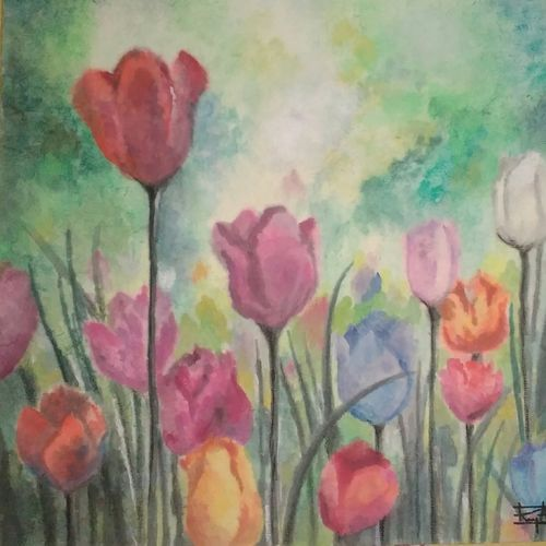 morning tulips, 12 x 12 inch, ramya arumugam,paintings,flower paintings,nature paintings,paintings for dining room,paintings for living room,paintings for bedroom,paintings for office,paintings for bathroom,paintings for kids room,paintings for hotel,paintings for kitchen,paintings for school,paintings for hospital,thick paper,pen color,pencil color,poster color,watercolor,12x12inch,GAL01066121019Nature,environment,Beauty,scenery,greenery