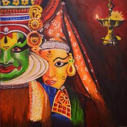 kathakali pair, 24 x 24 inch, tejal deshpande,paintings,folk art paintings,canvas,acrylic color,24x24inch,GAL01093921024