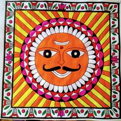 sun mithila art, 11 x 11 inch, geeta kwatra,paintings,religious paintings,paintings for living room,drawing paper,acrylic color,11x11inch,GAL0899121027