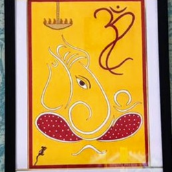 ganpati buppa mourya, 17 x 21 inch, geeta kwatra,paintings,abstract paintings,ganesha paintings,paintings for living room,handmade paper,acrylic color,17x21inch,GAL0899121029,vinayak,ekadanta,ganpati,lambodar,peace,devotion,religious,lord ganesha,lordganpati